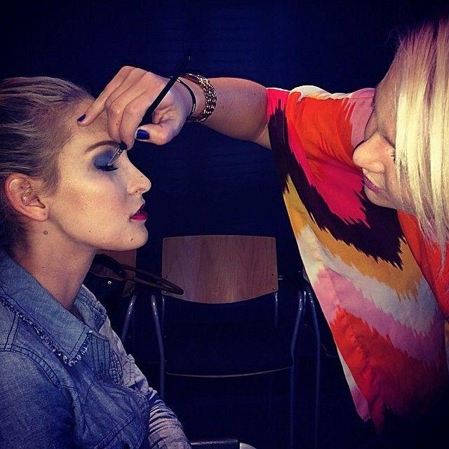Kim Gardner doing a models makeup of the Jatine fashion label walk. #Freeme #catwalkcalling