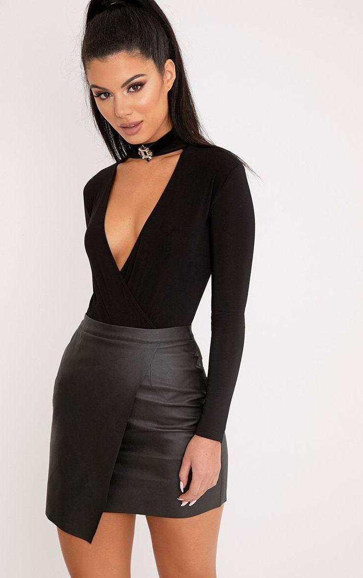 Luisa Black Faux Leather Wrap Mini Skirt
