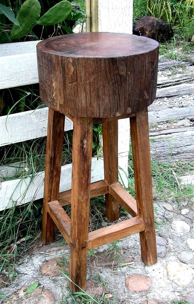 Rustic All Weather Stump Seat Bar Stool In Teak Bar