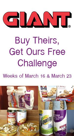 Starting the week of March 16 and then again the week of March 23 GIANT Food Stores will be having a Buy Theirs, Get Ours Free Challenge! #ad