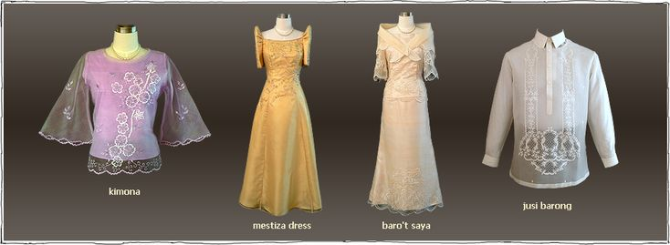 Modern Filipino Wedding Dresses : Baro t saya and barong national clothing of the