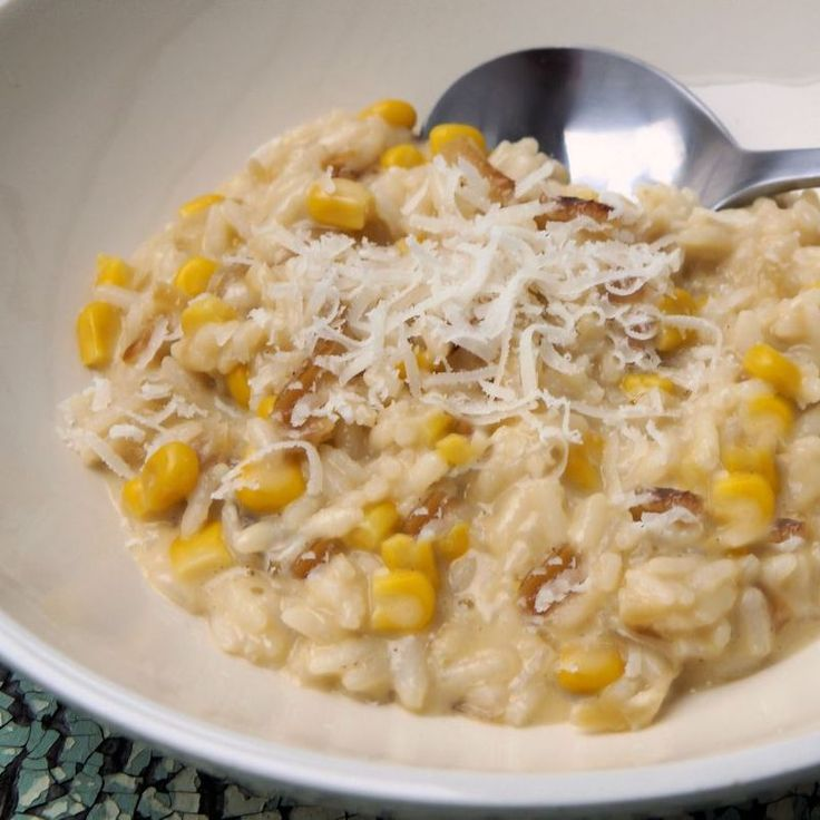 This is a unique but absolutely delicious risotto recipe. http://www.cautiousvegetarian.ca/recipe/caramelized-onion-corn-risotto/
