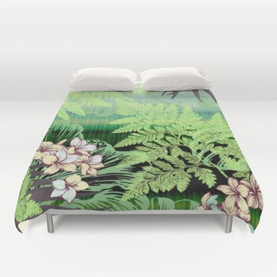 Cool Tranquility Duvet Cover #new #tropical #rainforest #flowers #ferns #Hawaiian #original #art for #duvet #cover for #bed #bedroom #home #apartment by #vikkisalmela