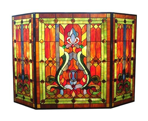 Victorian fireplace screen: Warm Color, Victorian Fireplaces, Fireplace Screens, Fireguard, Glasses Fireplaces, Fireplaces Screens, Fire Screens, Tiffany Style, Stained Glasses