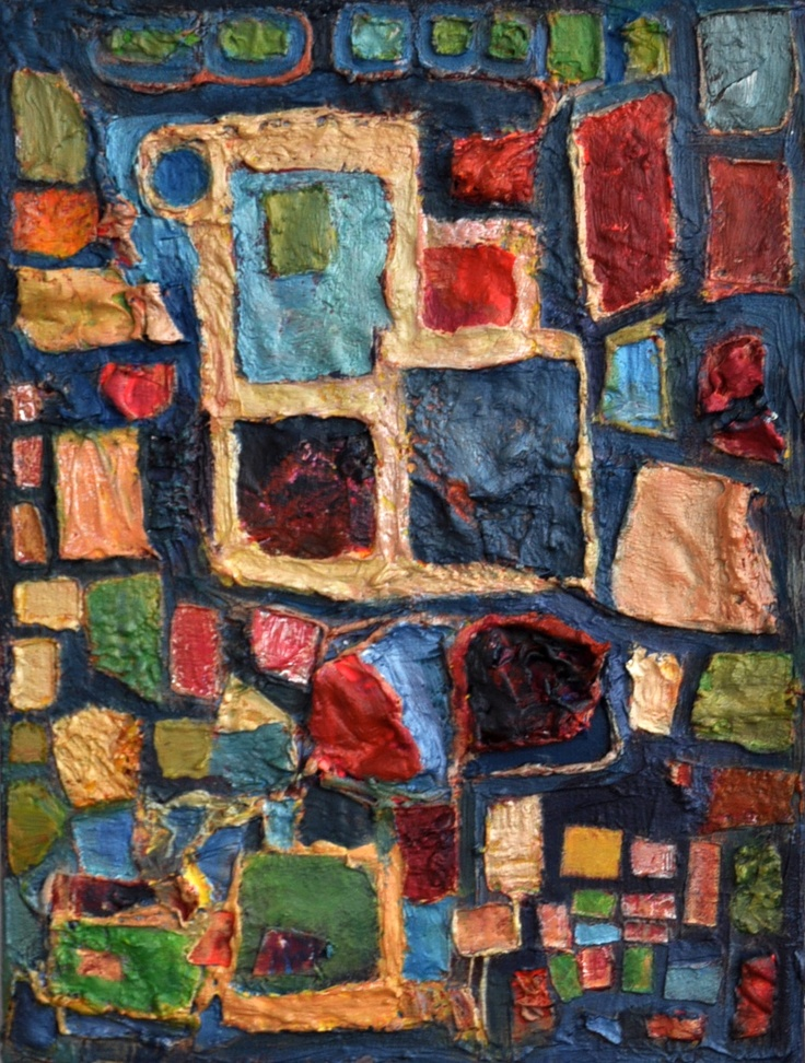 Collaged dried paint