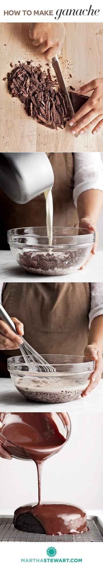 Ganache.  A no-fail recipe plus inspiring ideas to use this heavenly chocolate treat.  http://www.marthastewart.com/874691/ganache-101/@Virginia Kraljevic Stokes/874882/chocolate-recipes?xsc=pin_ms_baking_ganache