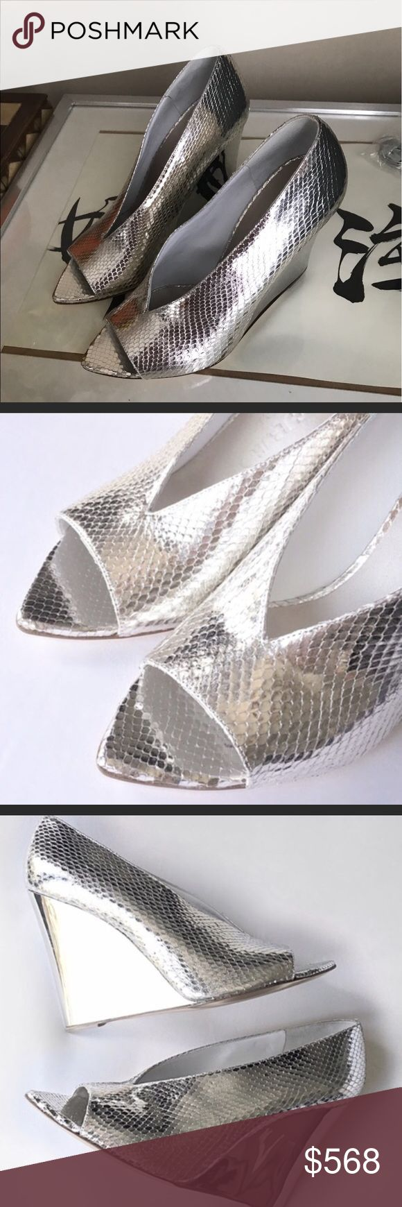 Burberry silver wedge shoes NEW in box! Absolutely gorgeous authentic Burberry wedges. Burberry Prorsum Shoreham wedge. Silver metallic snakeskin. Totally flawless! Includes box & dust bag. Size 37 Burberry Shoes Wedges