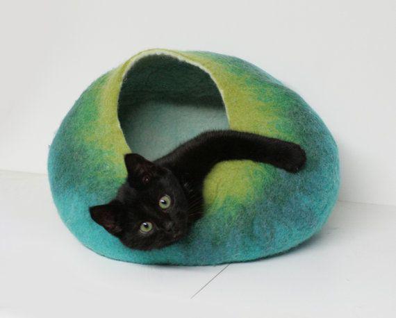 Kat grot / Bed / House / schip - Hand vervilte wol - Teal groen Bubble - fris hedendaags Design--klaar te verzenden
