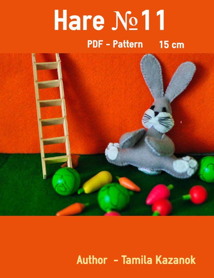 Bunny Instant Download PDF Pattern/ Easy Sewing PDF Pattern/ Stuffed Toy Animal Bunny Softie by Tamilashki on Etsy