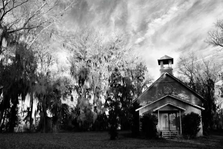 The chapel at the abandoned film setting of the town of Spectre from the movie 'Big Fish'