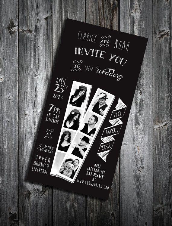 Black wedding printable invitation van LaVieEnRoseDesigns op Etsy, €4.90