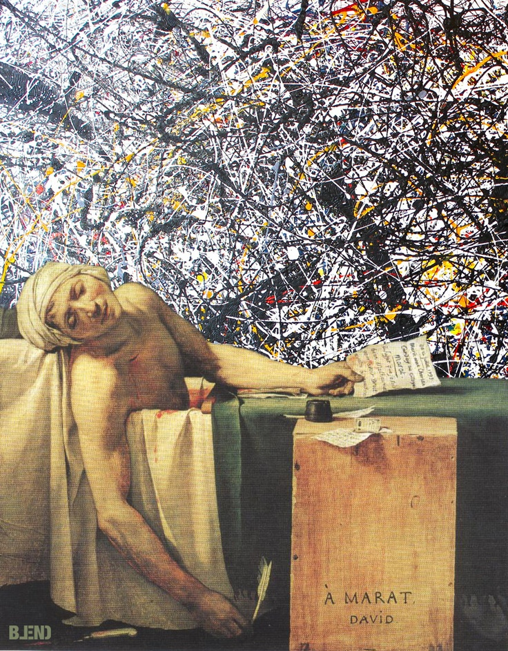Jacques #LouisDavid & Jackson #Pollock | The death of Marat & Abstract Splatter.  #art #paintings #blend