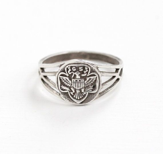 Vintage Sterling Silver Girl Scout Eagle Motif Ring - Size 7 1/2 GSA Girl Scouts of America Hallmarked OB Ostby & Barton Filigree Jewelry by Maejean Vintage on Etsy