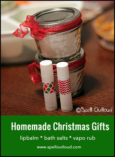 DIY lip balm, bath salts, vapo rub for Christmas