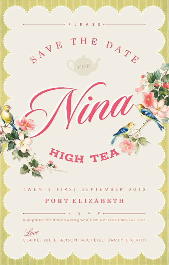 Vintage High Tea Party Bridal Shower Invitation Kerith Pretorius Pastel Fl Invitations