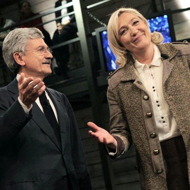 Massimo D'Alema e Marine Le Pen, eurodeputata francese e presidente del partito di destra Front National, ospiti alla trasmissione Di Martedì condotta da Giovanni Floris