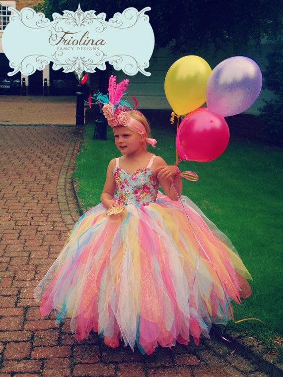 Rainbow Tutu Dress Flower Girl Dress by FriolinaFancyDesigns, $130.00