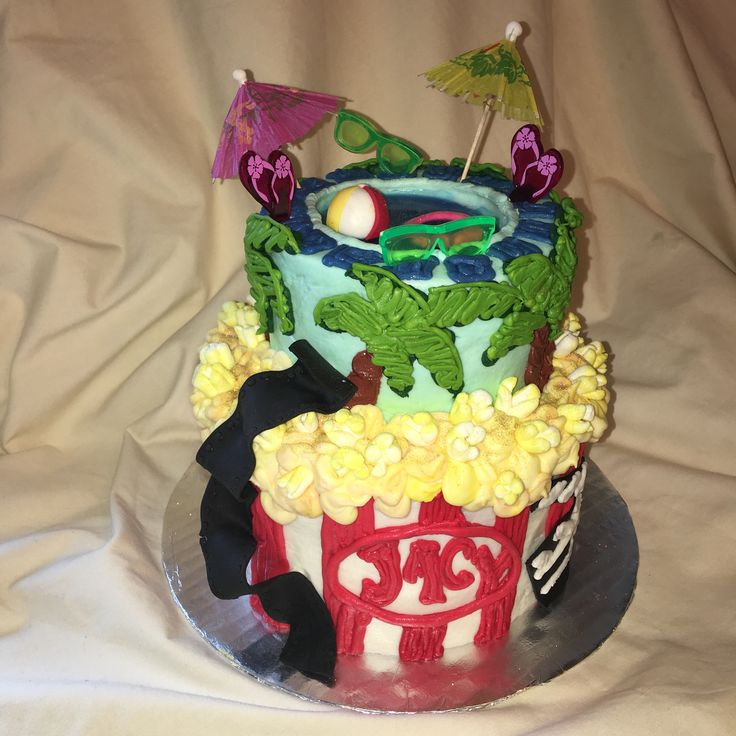 Movie night pool party birthday cake  by Inphinity Designs. Please visit my FaceBook Page Inphinity Designs by Kandy Lloyd to order.