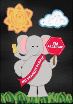 Chalk Poster - Peanut Allergy {FREE}I came across this cute peanut allergy pic (JWI Illustrations)