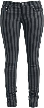 """- slim fit - 5 pocket style - studs  It's getting punk with the black/grey """"Stripes"""" girls shorts by Rock Rebel by EMP. These trousers are nice and figure-hugging thanks to the slim fit. The classic stripe look is rounded off by the studs. Put them on and let Punk rock live!"""