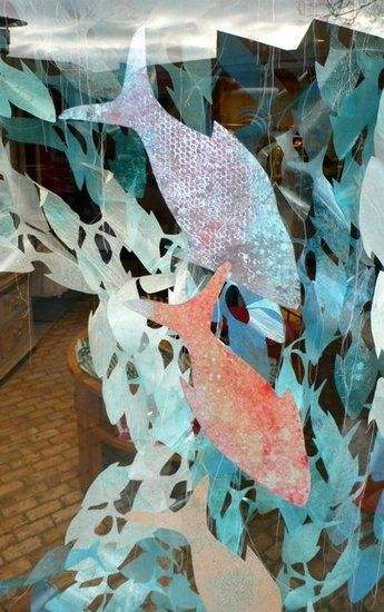 Tissue paper on bubble wrap? A Tour of Anthropologies Earth Day 2012 Window Displays: A school of fish at Corte Madera, CA. : Indianapolis, IN : Corte Madera, CA