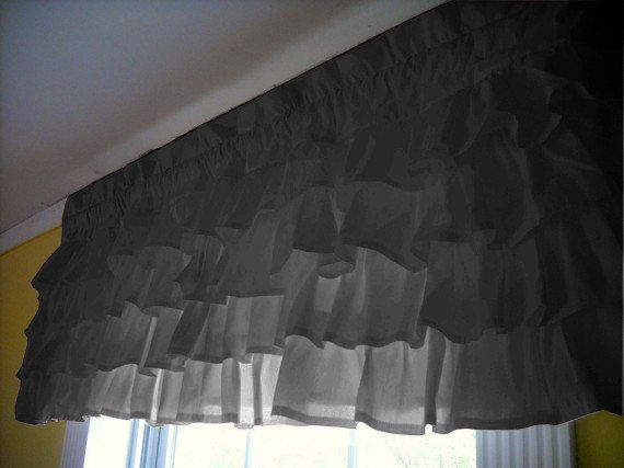 Carbon+Gray+Waterfall+Ruffled+Window+Valance+by+ExclusiveStore,+$59.99