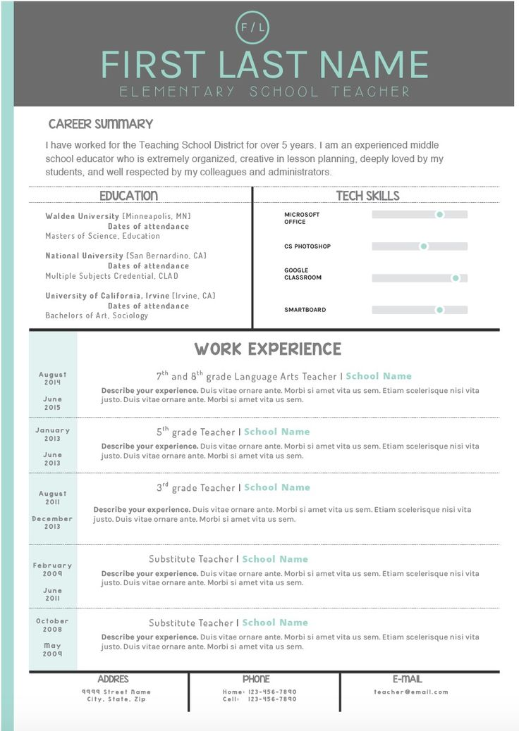 Teacher Resume Templates. In Love With This Adorable Teacher Resume ...
