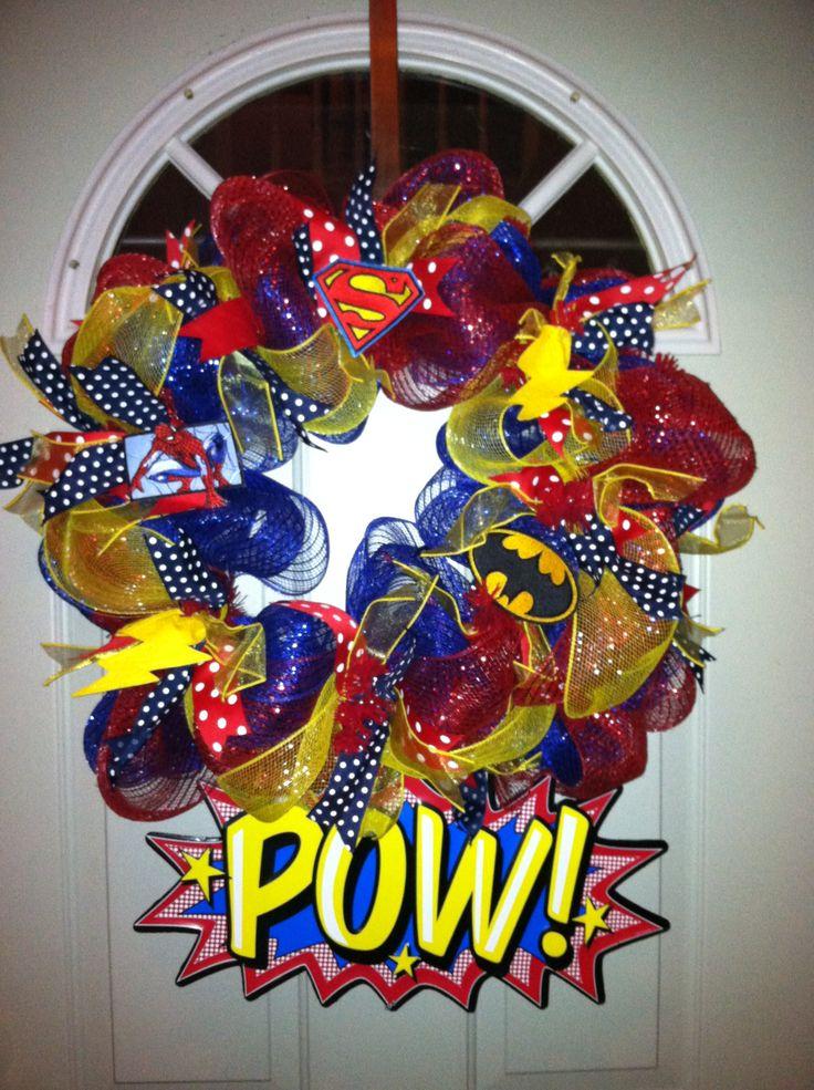 Superhero wreath for the classroom.