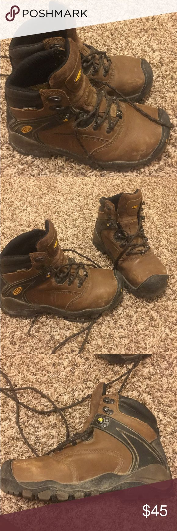 •Keen• waterproof, steel toe boots Brown with black lace up boots Keen Shoes