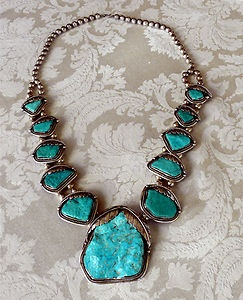 Huge Navajo Sterling & Nevada Slab Turquoise Necklace