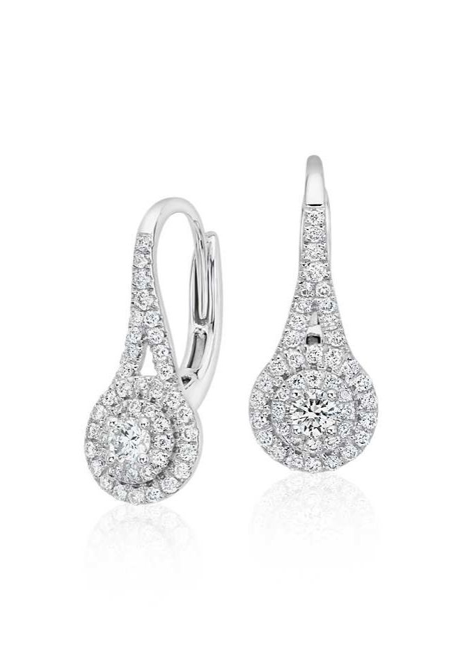 Timeless and feminine, these diamond earrings feature round diamonds framed in a spiral design of 18k white gold.