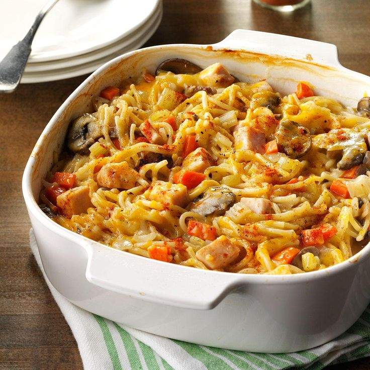 """Turkey Spaghetti Casserole Recipe from Taste of Home -""""My mom made this creamy comforting dish when I was growing up. Whenever I have leftover chicken or turkey, I look forward to making this simple, yet tasty, filling dish."""" Casandra Hetrick - Lindsey, Ohio"""