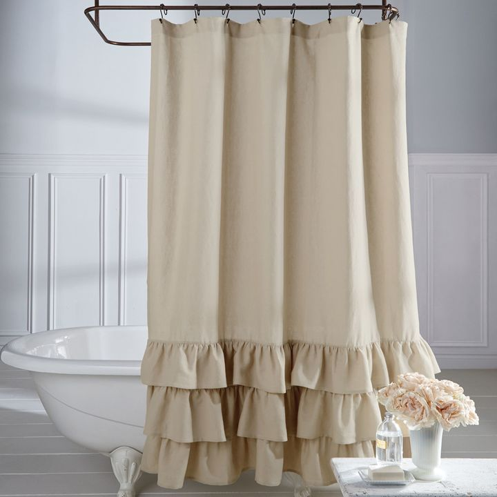 bring a touch of dramatic flair to your bathroom decor with the veratex vintage ruffle shower curtain boasting an elegantly ruffled hem