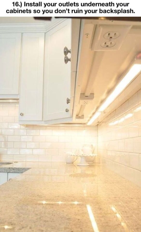Kitchen: Install Outlets Underneath Cabinets So They Don't Ruin Visual Appeal of Backsplash