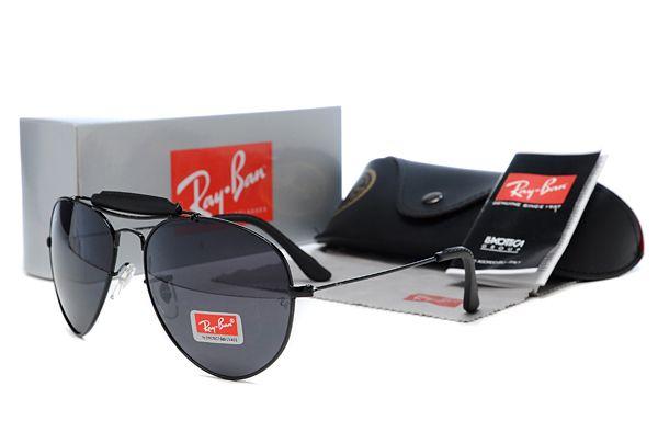 New 2014 Ray Ban Aviator Black Full Framed Sunglasses