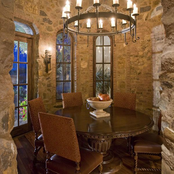 Casual Dining in the round, Tuscan style... round lighting, round table, round room... looking out over those 'round steps' I pinned on DIY board... make round steps from stones instead of concrete:)