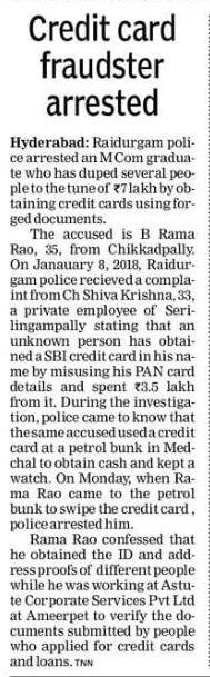 Man arrested by the Raidurgam police for using forged documents to get credit cards. #CriminalLawyersinHyderabad        #CriminalAdvocatesinHyderabad #AbhayaLegalServices                       #LegalServicesinHyderabad