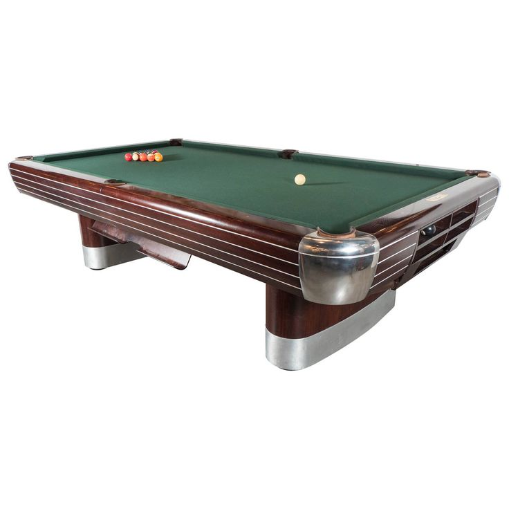 Art Deco Brunswick Pool Table in Rosewood with Brushed and Polished Aluminum  | From a unique collection of antique and modern game tables at https://www.1stdibs.com/furniture/tables/game-tables/