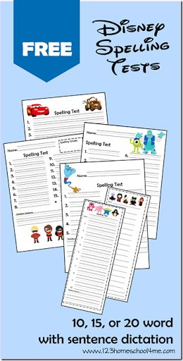FREE Disney Spelling Tests for K-6th Grade