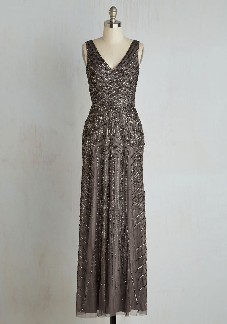 Proper Glamour Dress. Your elegance is well-articulated with this glimmering Adrianna Papell gown! #grey #prom #modcloth