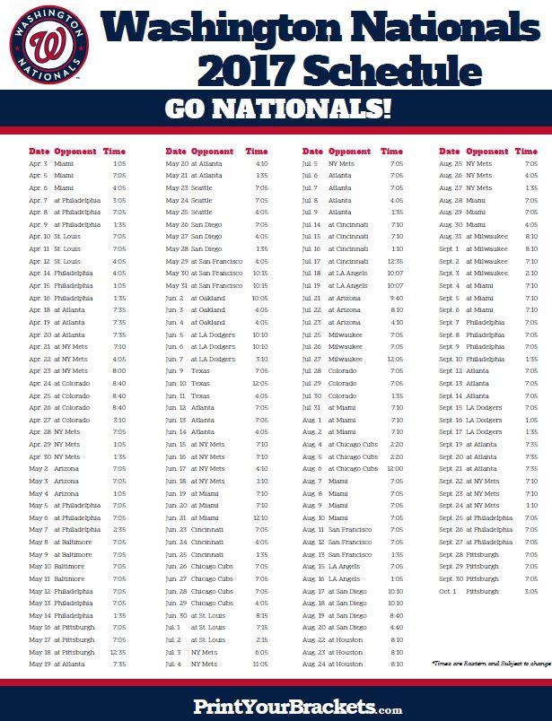 2017 Washington Nationals Schedule