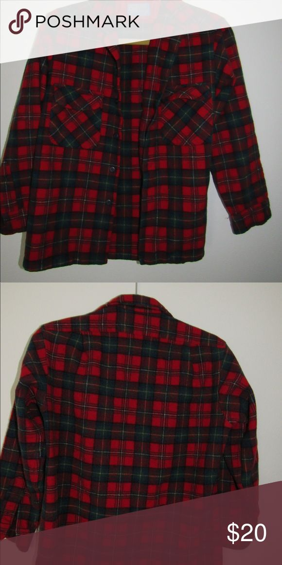 Pendleton plaid flannel button down Good condition red plaid Pendleton flannel button up! Girls small but fits very small sleeves: 19 inch. From top to bottom: 23 inch.  Side to side: 17inch Pendleton Tops Button Down Shirts