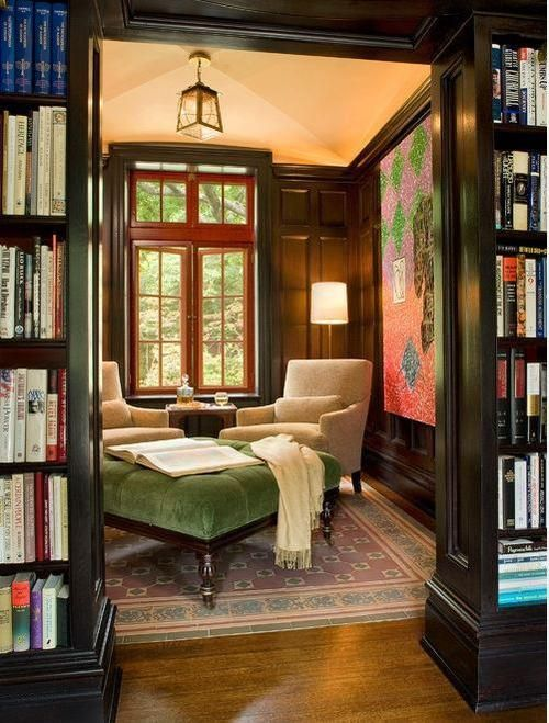 Den Library Design Ideas: Great Seating Arrangement For A Small Den, Nook, Library