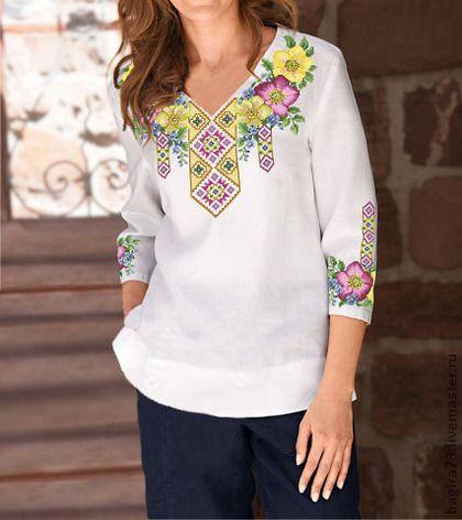 """""""047"""" Весенее утро - цветочный,сорочка,вышитая сорочка,блузка,вышитая блузка"""
