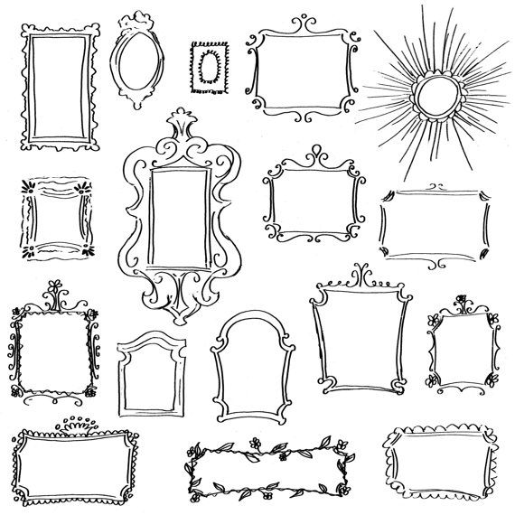 Doodle Frames Clip Art Pack // Set of 17 Unique Hand-Drawn