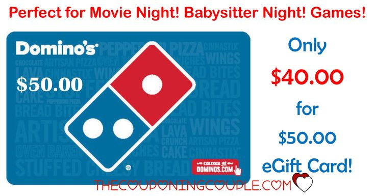 WOOHOO! Perfect for movie night! Game night! When you hire a babysitter! Snag a $50.00 Domino's Pizza Gift Card for only $40.00! Great for a gift too!  Click the link below to get all of the details ► http://www.thecouponingcouple.com/dominos-pizza-gift-card/ #Coupons #Couponing #CouponCommunity  Visit us at http://www.thecouponingcouple.com for more great posts!
