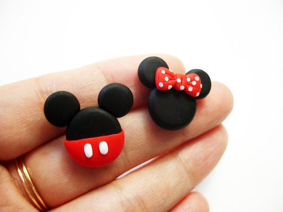 GUO GUO'S- Mickey and Minnie Mouse Ear stud  , Handmade polymer clay Earrings, made to order on Etsy, $9.00