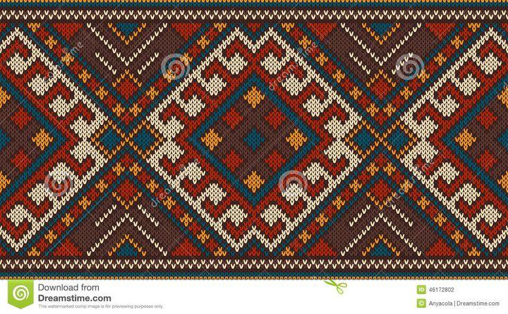 Традиционный Племенной ацтеков бесшовные узор на шерстяной вязаный текстуры