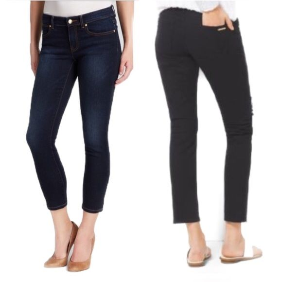 🎉HP🎉 MICHAEL KORS Dark Cropped Skinny Jeans Medium-dark wash. Women's, size 4. NEW condition with partial tags (paper tag removed, but sticker tag fully in tact); fairly discounted for this. Stretchy. Imported, Guatemala. Skinny. Cropped.  ***Want a discount on this item? Bundle & $ave! Michael Kors Jeans Ankle & Cropped