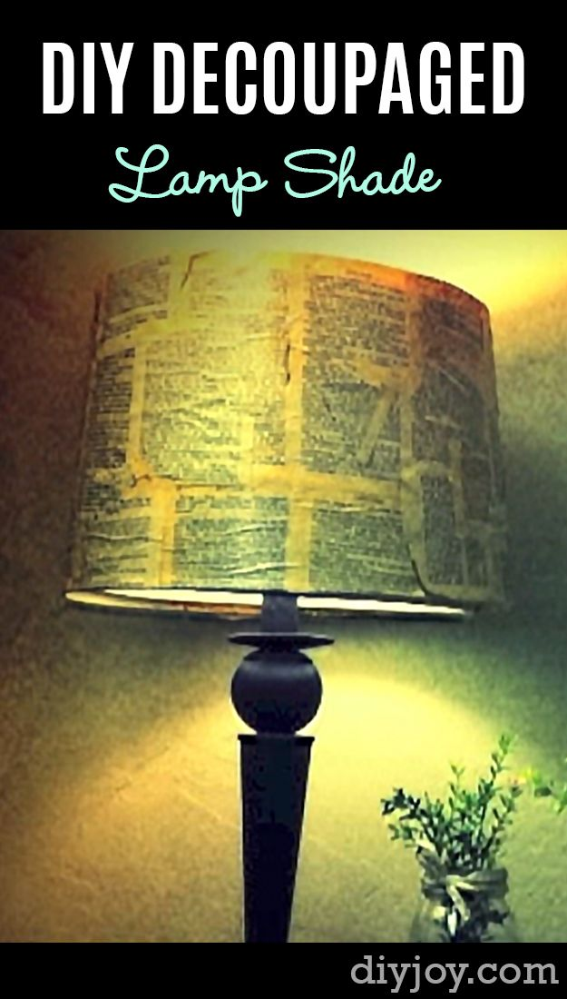 40 Brilliant DIY Ideas for the Bedroom | Decoupage lamp